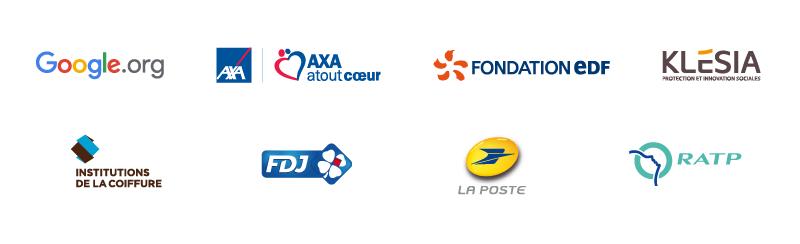 Google.org, AXA Atout Cœur, Fondation EDF, Klésia, Institutions de la Coiffure, La Française des Jeux, La Poste, RATP