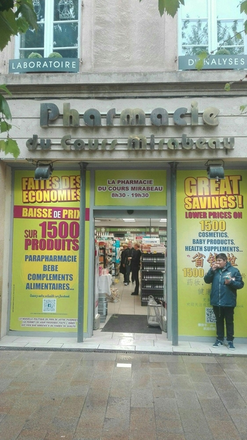 Cours Mirabeau pharmacy AixenProvence Detailed accessibility